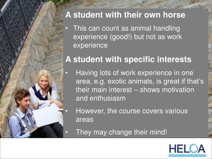 A student with their own horse