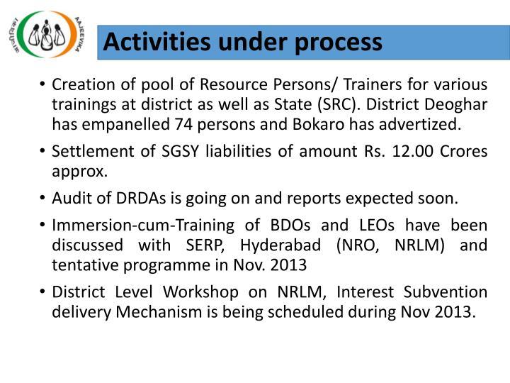 Activities under process