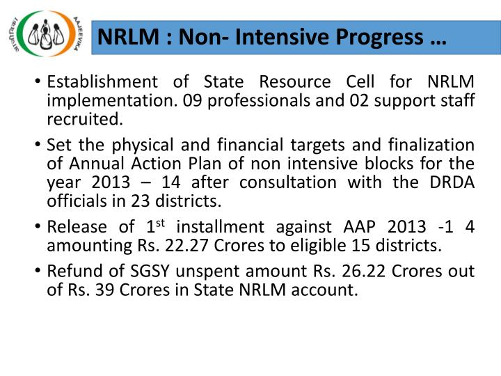 NRLM : Non- Intensive Progress …