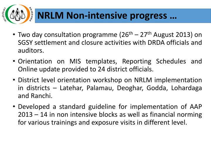 NRLM Non-intensive progress …