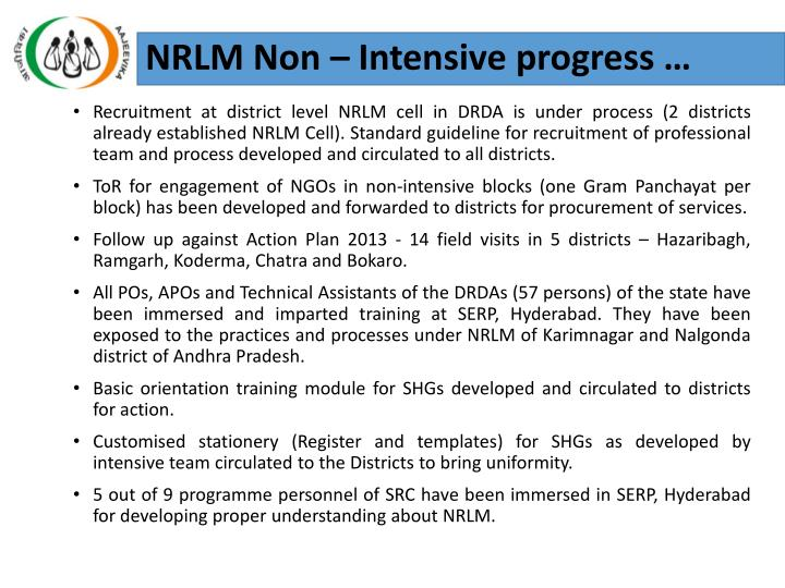 NRLM Non – Intensive progress …