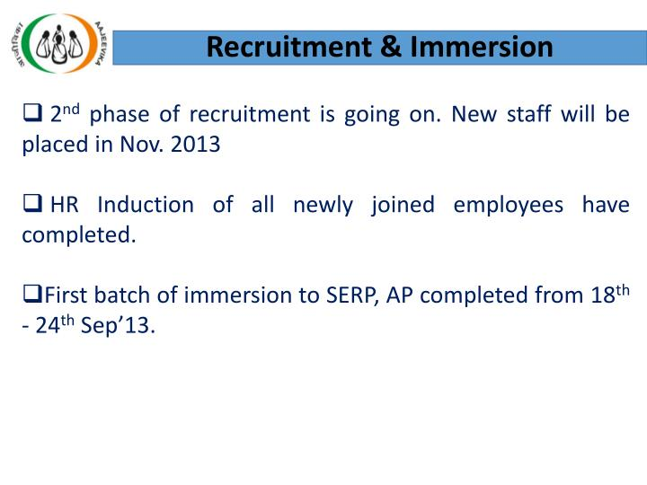 Recruitment & Immersion