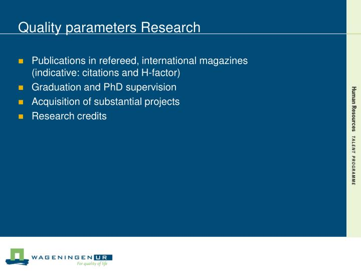 Quality parameters Research