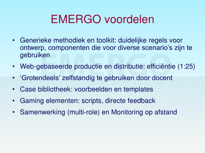 EMERGO voordelen