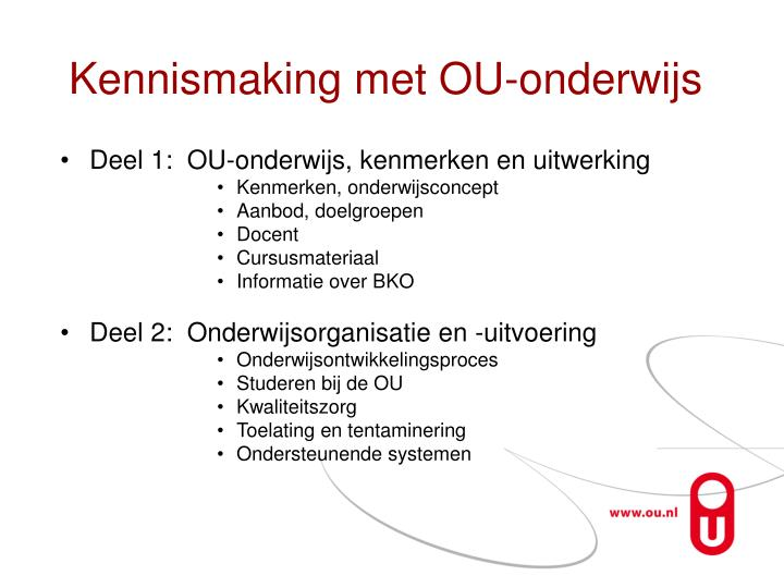 Kennismaking met OU-onderwijs