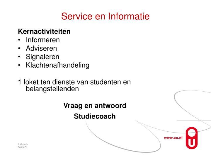 Service en Informatie