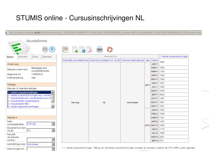 STUMIS online - Cursusinschrijvingen NL