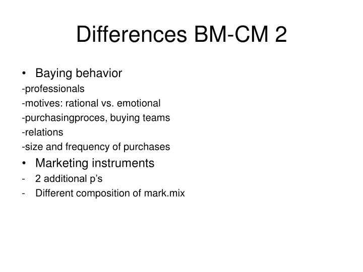 Differences BM-CM 2