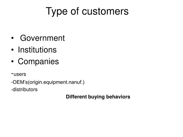 Type of customers