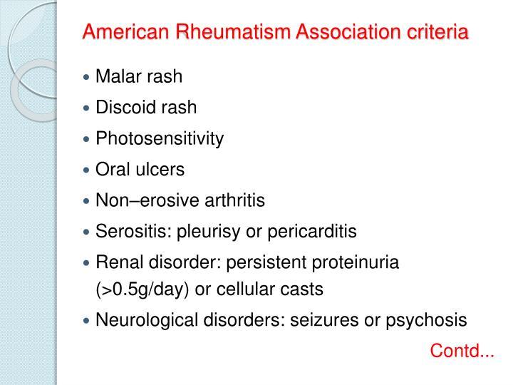 American Rheumatism Association criteria