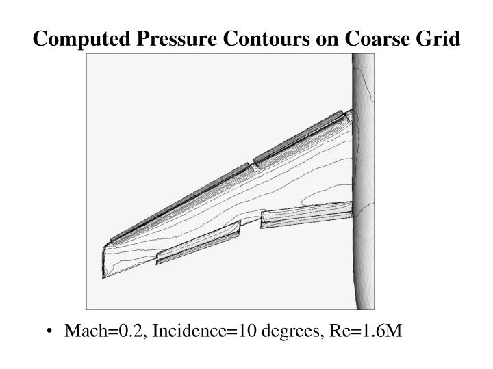 Computed Pressure Contours on Coarse Grid