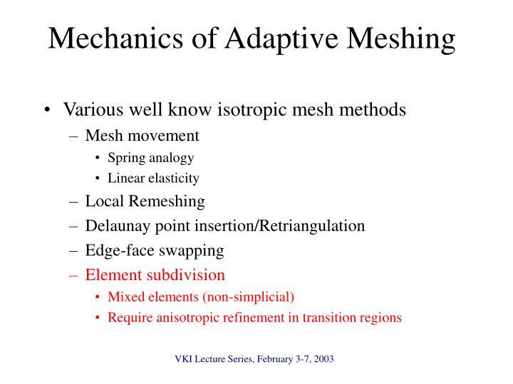 Mechanics of Adaptive Meshing
