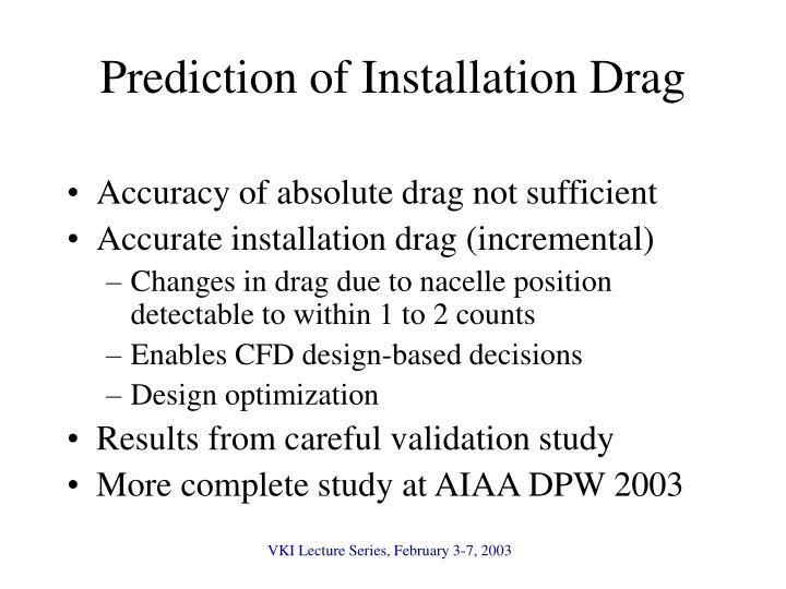 Prediction of Installation Drag