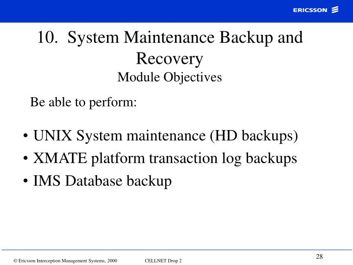 10.  System Maintenance Backup and Recovery