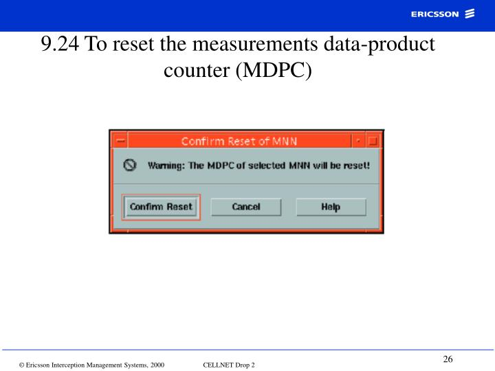 9.24 To reset the measurements data-product counter (MDPC)