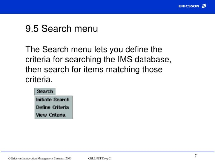 9.5 Search menu