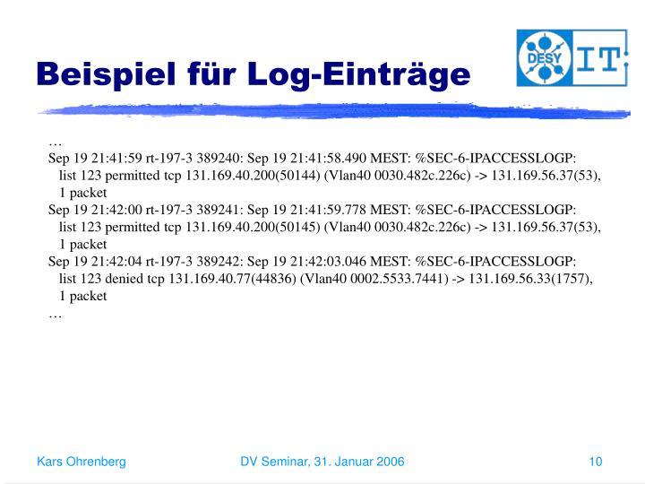 Beispiel für Log-Einträge