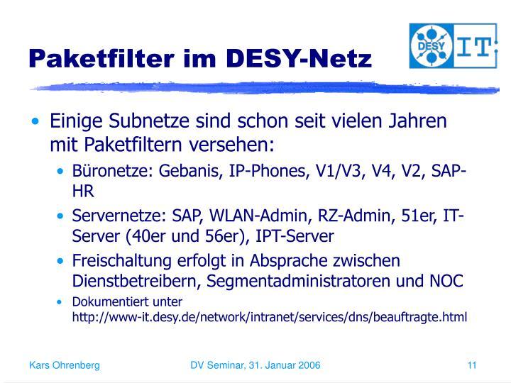 Paketfilter im DESY-Netz