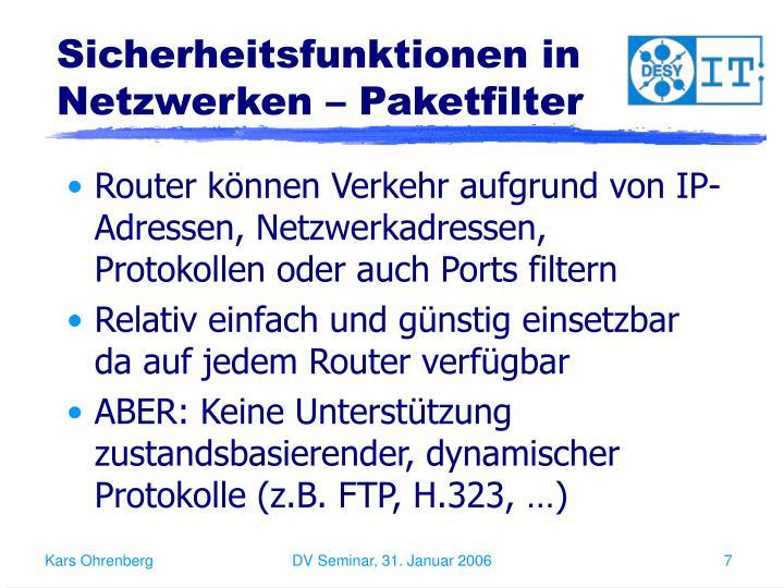 Sicherheitsfunktionen in Netzwerken – Paketfilter