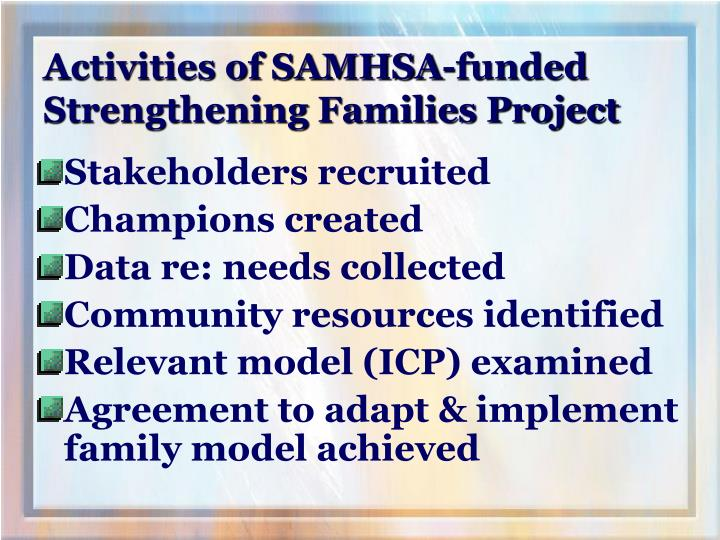 Activities of SAMHSA-funded