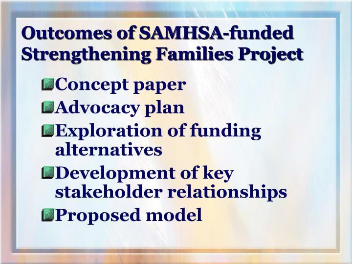 Outcomes of SAMHSA-funded Strengthening Families Project