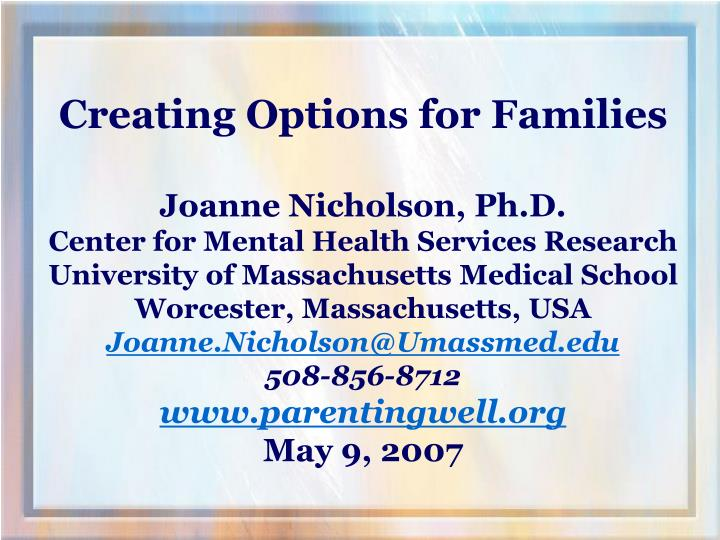 Creating Options for Families