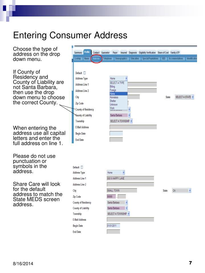 Entering Consumer Address