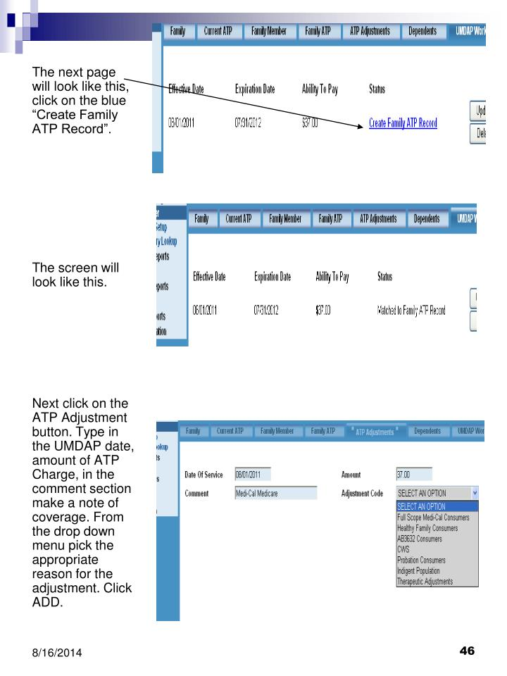 "The next page will look like this, click on the blue ""Create Family ATP Record""."
