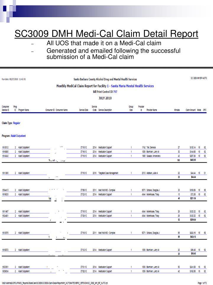 SC3009 DMH Medi-Cal Claim Detail Report