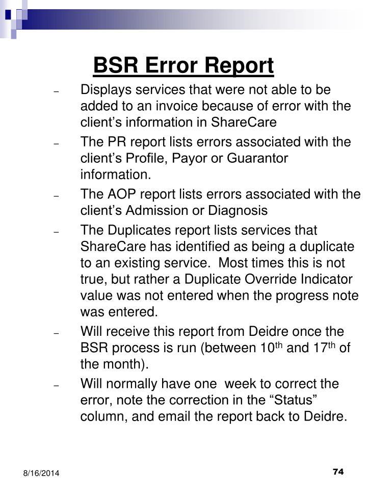 BSR Error Report