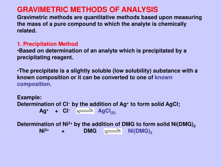 quantitative determination of sulfate by gravimetric analysis Gravimetric analysis is a quantitative method for accurately determining the amount of a  gravimetric analysis of an unknown sulfate page 3 of 3 7.