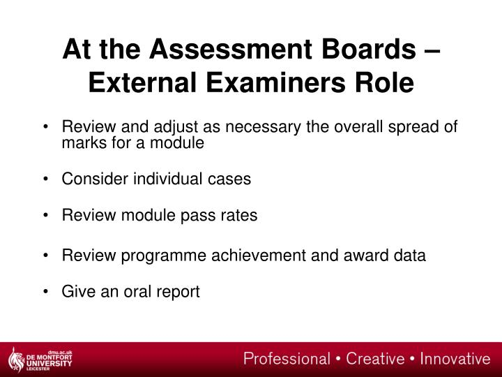 At the Assessment Boards –