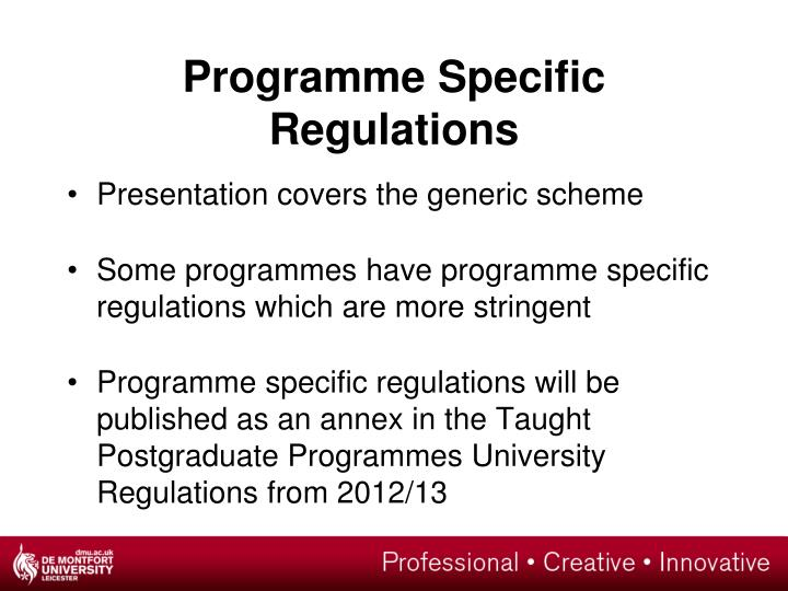 Programme Specific Regulations
