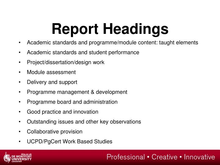 Report Headings
