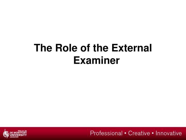 The Role of the External Examiner