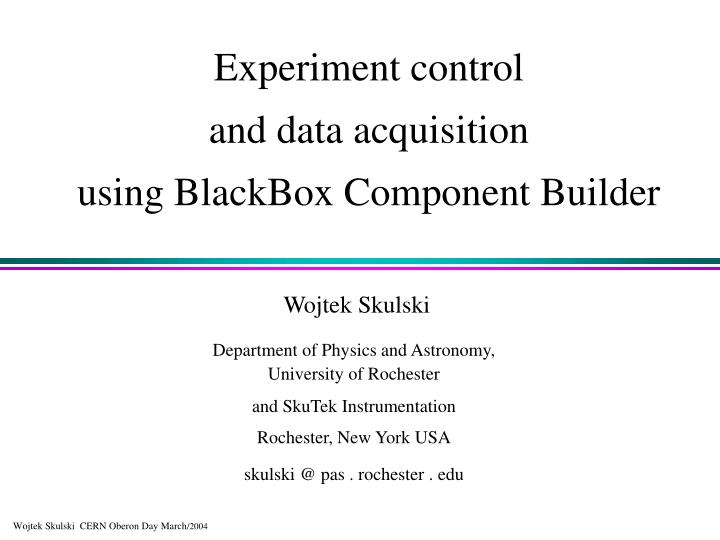 Principles Of Data Acquisition Experiment : Ppt experiment control and data acquisition using