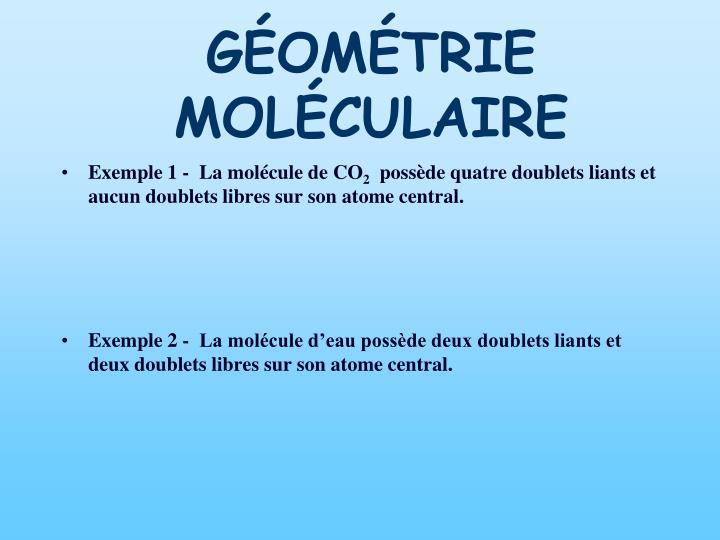 GÉOMÉTRIE MOLÉCULAIRE