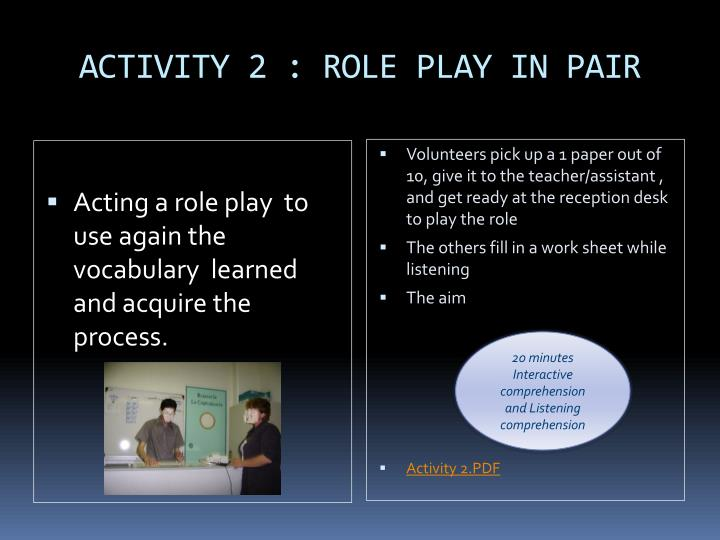 ACTIVITY 2 : ROLE PLAY IN PAIR