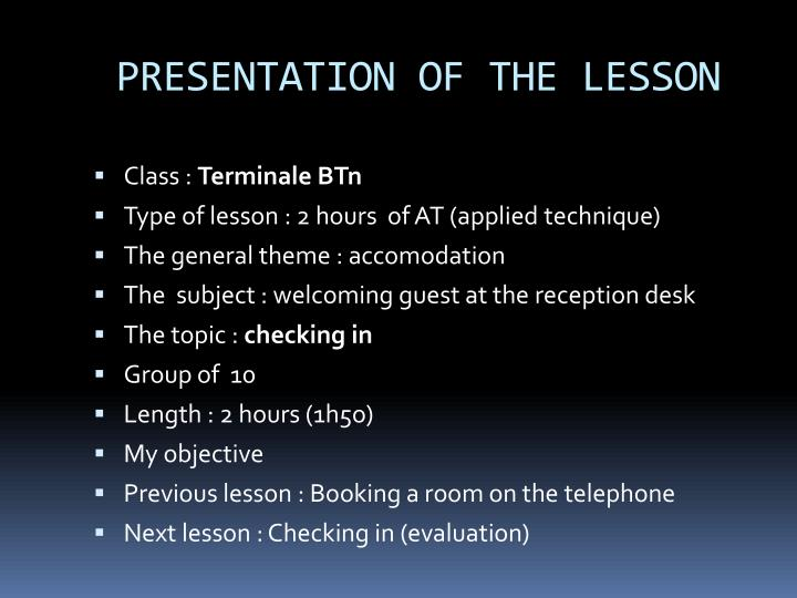 Presentation of the lesson