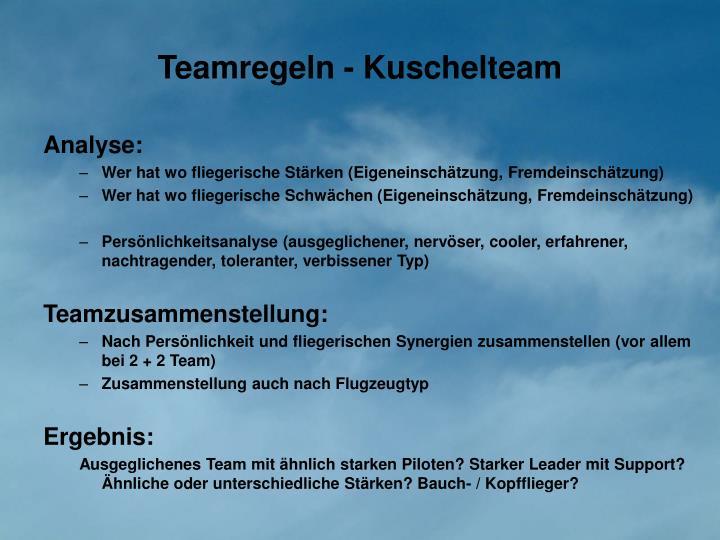 Teamregeln - Kuschelteam