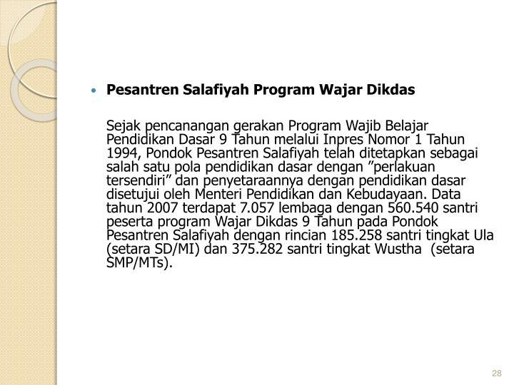 Pesantren Salafiyah Program Wajar Dikdas