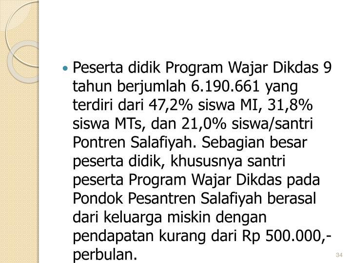 Peserta didik Program Wajar Dikdas 9 tahun berjumlah 6.190.661 yang terdiri dari 47,2% siswa MI, 31,8% siswa MTs, dan 21,0% siswa/santri Pontren Salafiyah. Sebagian besar peserta didik, khususnya santri peserta Program Wajar Dikdas pada Pondok Pesantren Salafiyah berasal dari keluarga miskin dengan pendapatan kurang dari Rp 500.000,- perbulan.