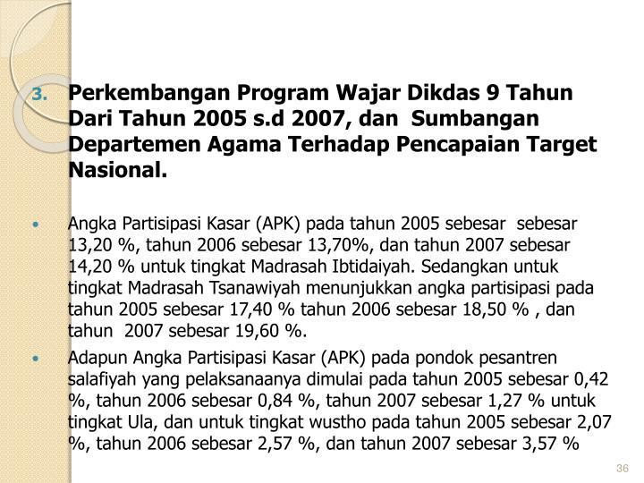 Perkembangan Program Wajar Dikdas 9 Tahun Dari Tahun 2005 s.d 2007, dan  Sumbangan Departemen Agama Terhadap Pencapaian Target Nasional.