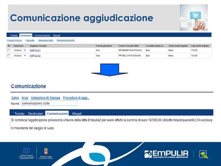 Comunicazione aggiudicazione