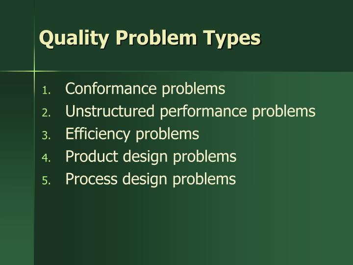 Quality Problem Types