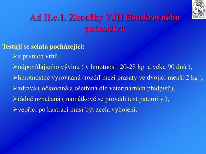 Ad II.c.1. Zkouky VJH istokrevnho potomstva