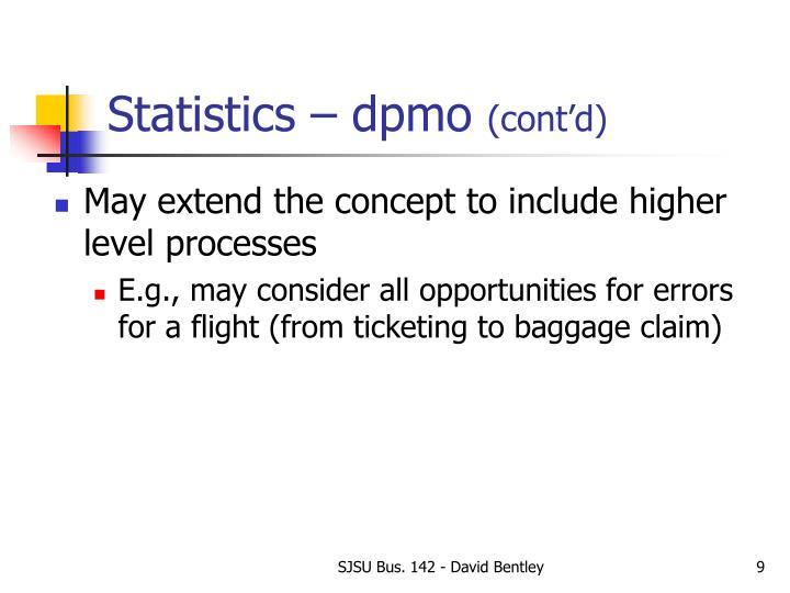 Statistics – dpmo