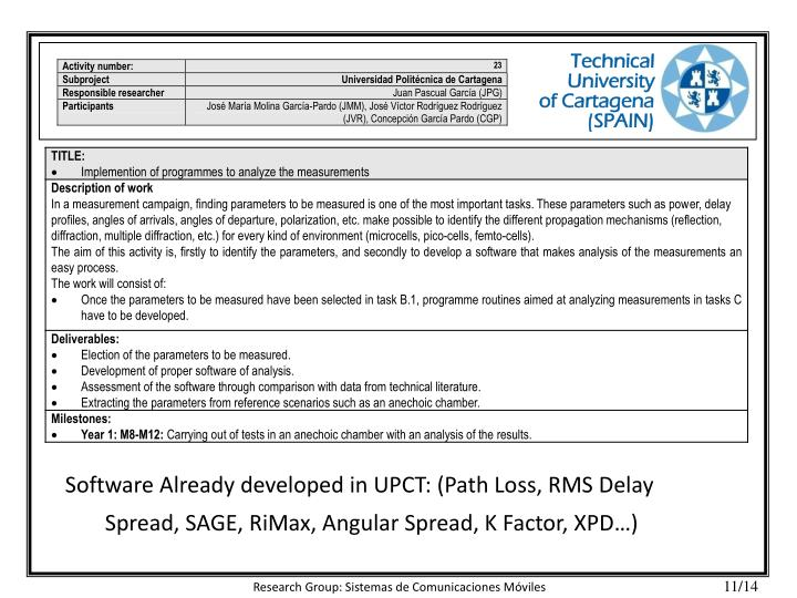 Software Already developed in UPCT: (Path Loss, RMS Delay Spread, SAGE, RiMax, Angular Spread, K Factor, XPD…)