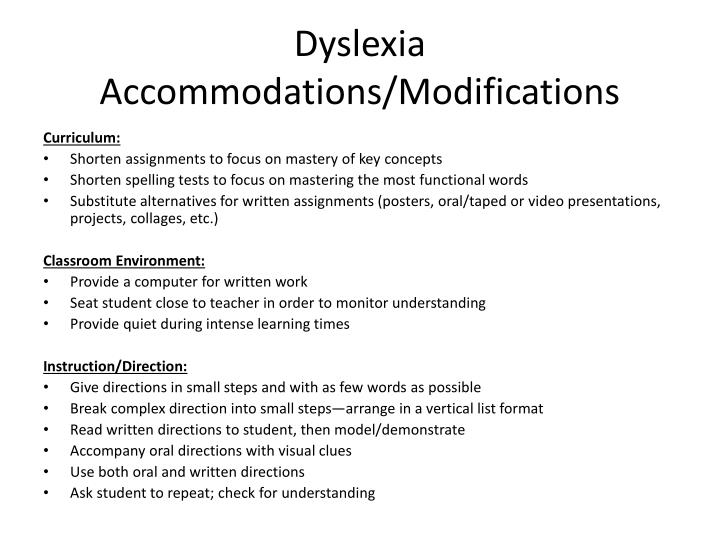 Dyslexia Accommodations/Modifications