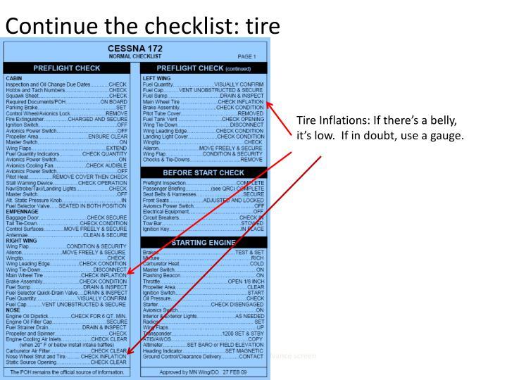 Continue the checklist: tire